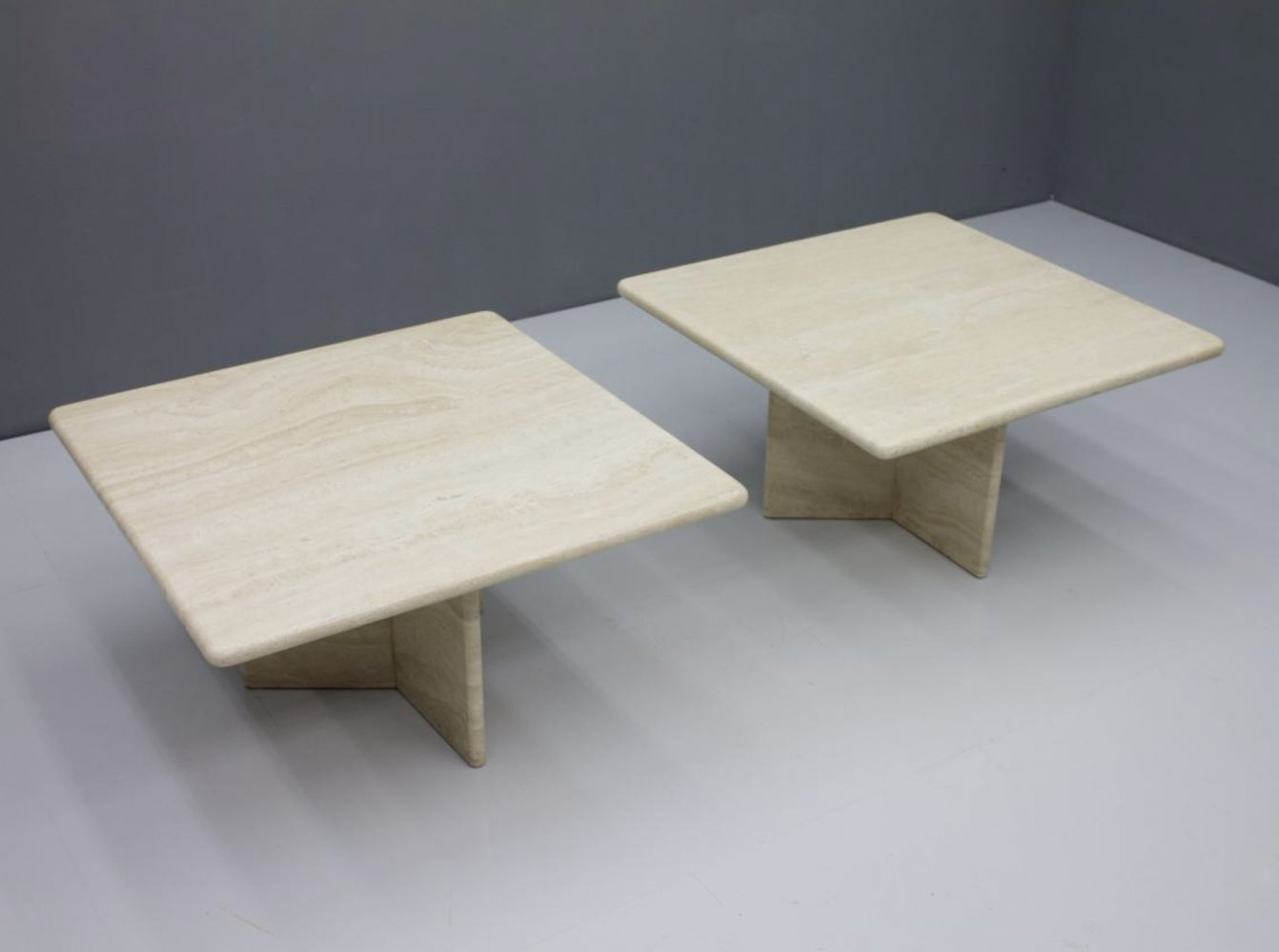 Travertine Coffee or Side Table with Polished Top, Italy 1970s