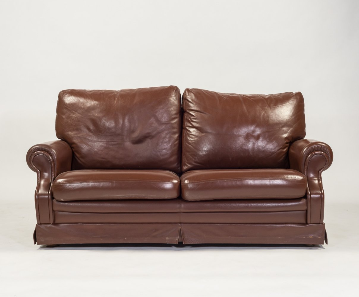 Italian design two seats sofa in brown leather, 1970