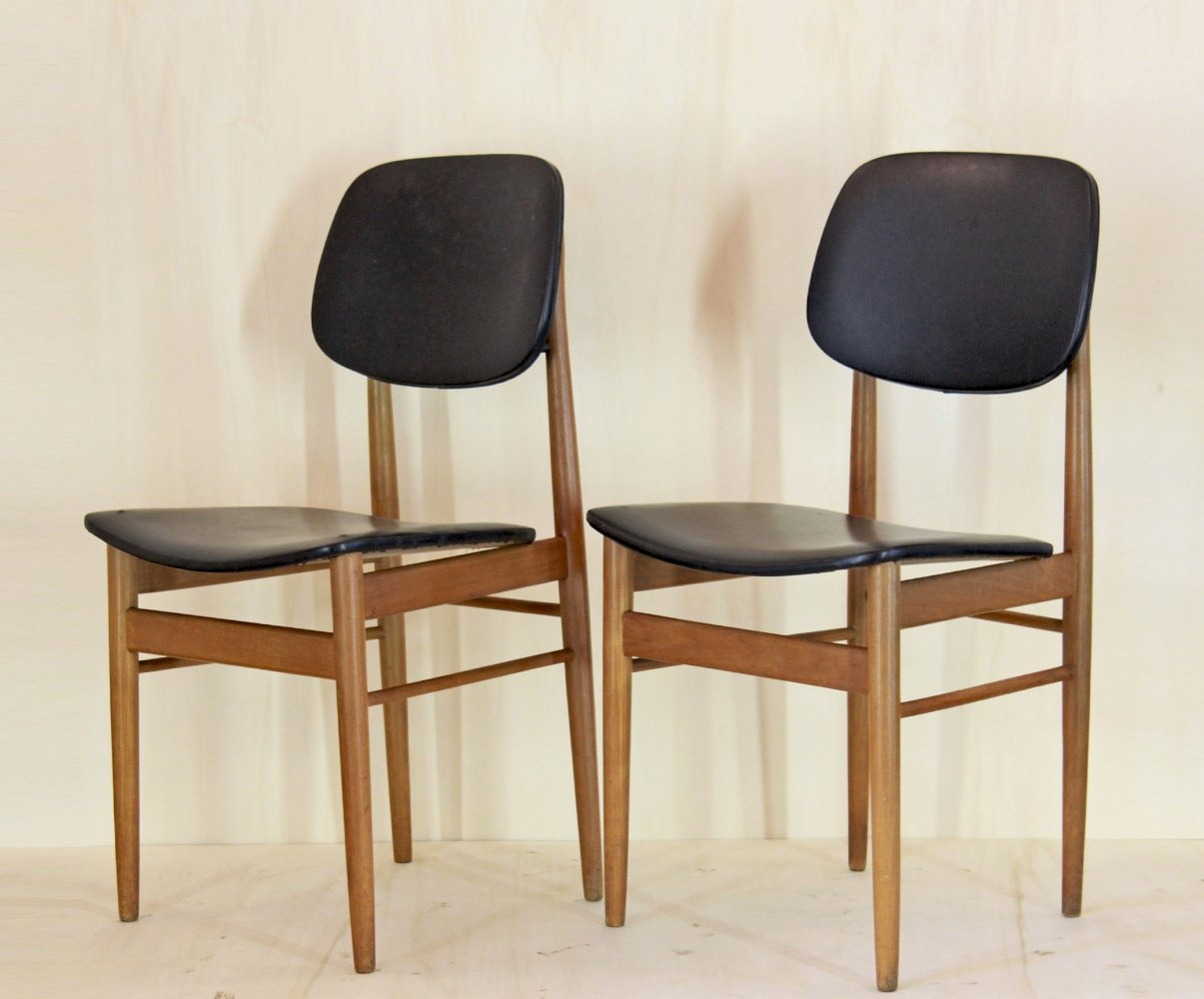 Pair of vintage dining chairs by Ico Parisi, 1950s
