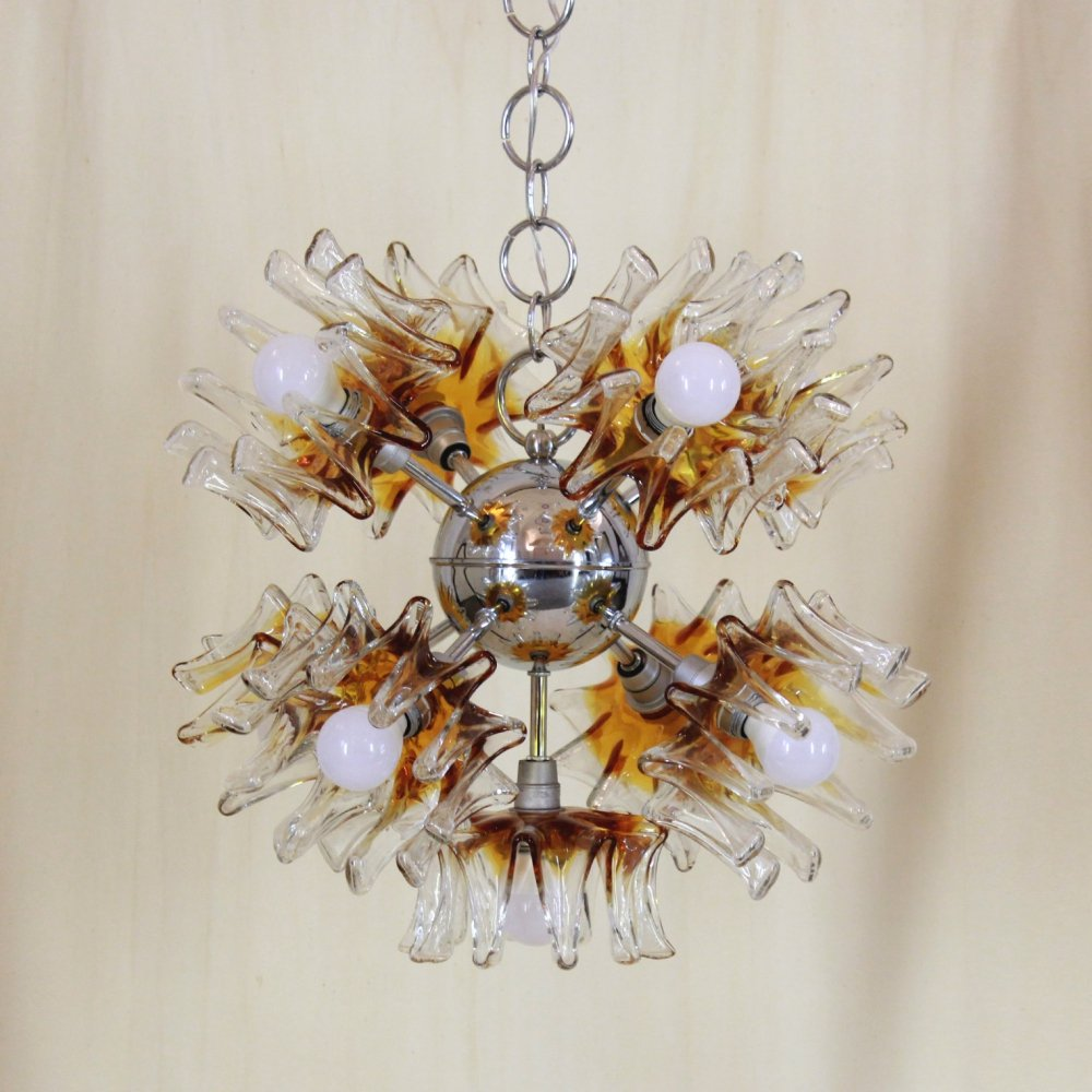 Vintage sputnik chandelier in Murano glass by Carlo Nason for Mazzega