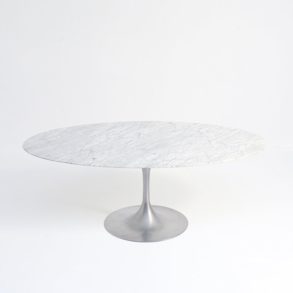 Oval Carrara Marble Dining Table with Pedestal Base, 1970s
