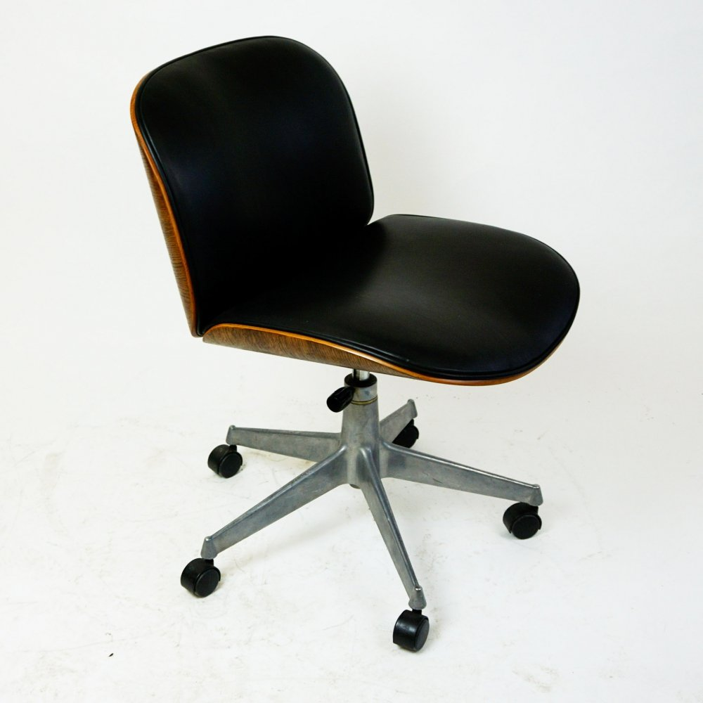 Italian Midcentury Leather & Oak Office Chair by Ico Paris for MIM Roma
