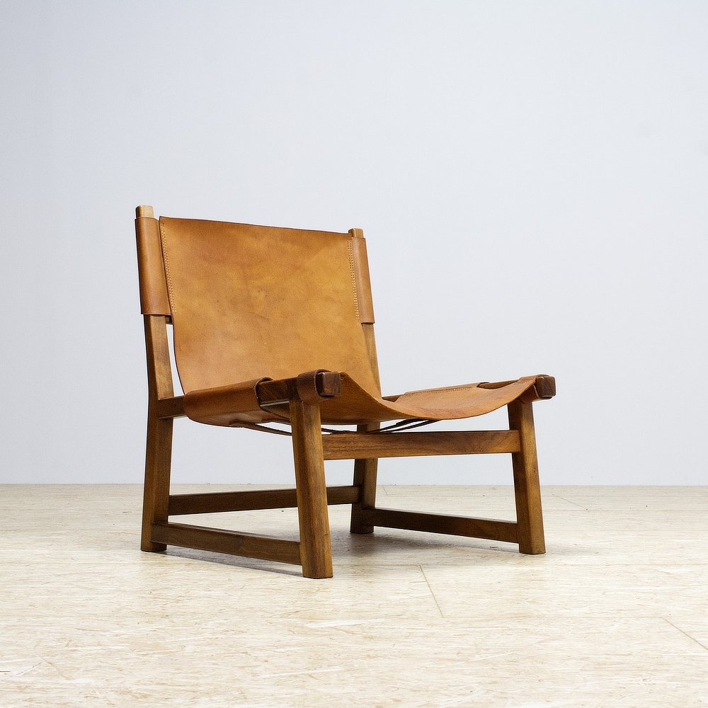 Spanish Chair by Paco Munoz in Walnut & Leather, 1960s