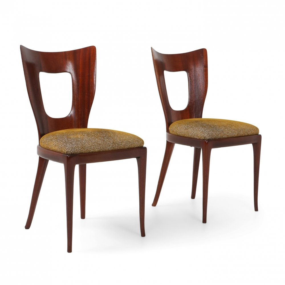 Pair of Osvaldo Borsani Dining Chairs in Mahogany, 1950s