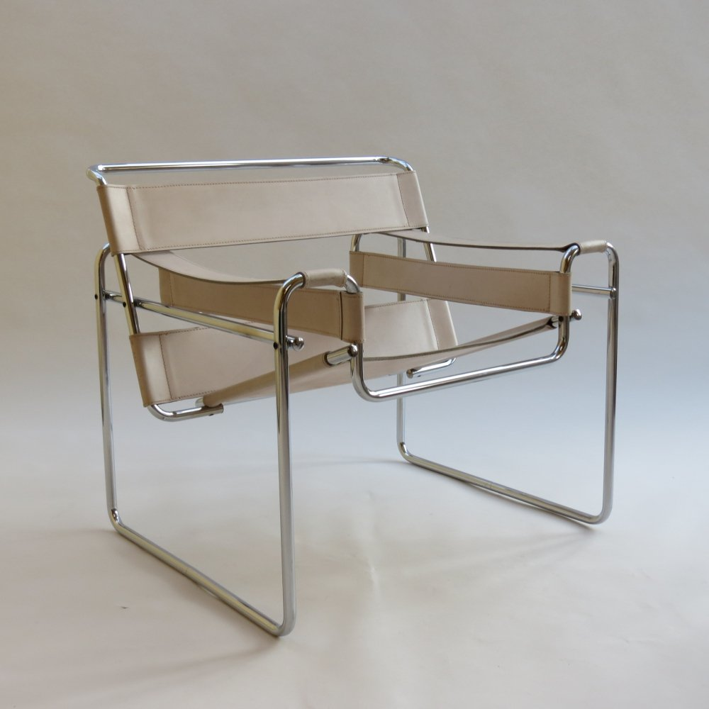 B3 Wassily Chair In Cream Leather by Marcel Breuer Gavina, Italy 1960s