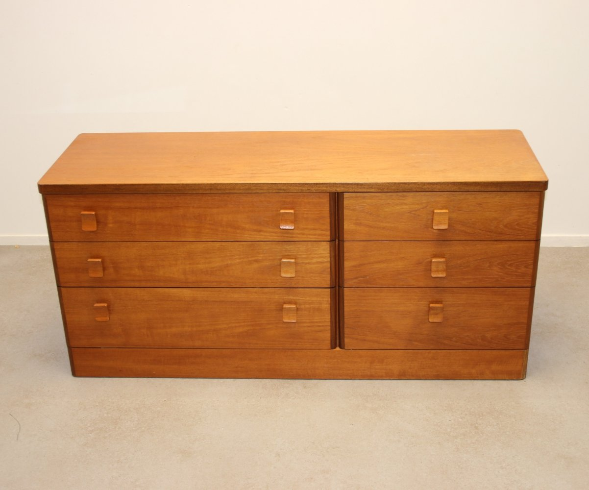 Teak Sideboard or Drawers Cabinet with 6 drawers by Stag, 1960s