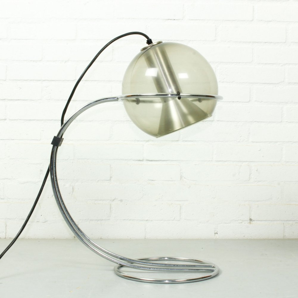 Smoked glass Globe Table/office lamp by Frank Ligtelijn for Raak, 1960