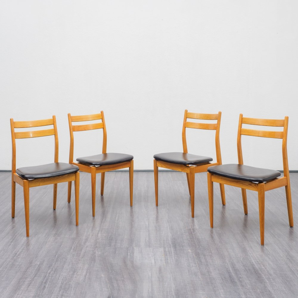 Set of 4 midcentury dining chairs in ashwood, 1960s