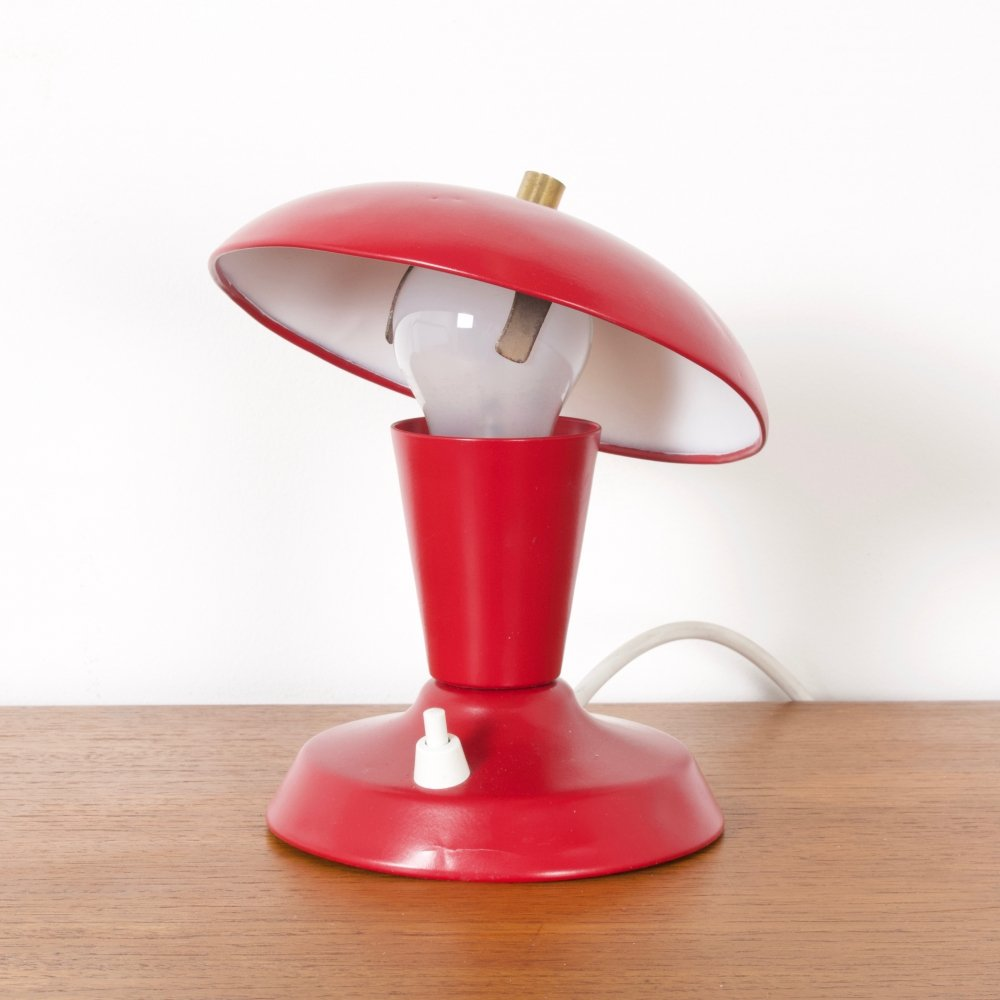 Small Red Metal Lamp by Philips