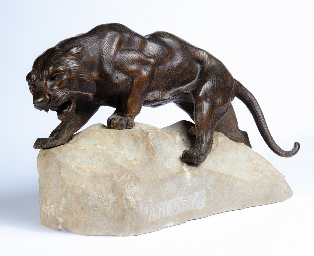 Bronze Tiger on a Rock by James Andrey, France c1920