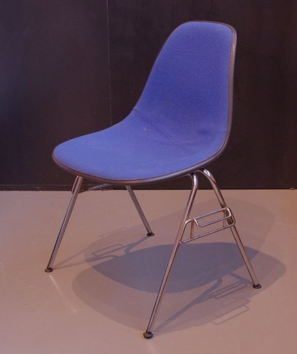 Charles & Ray Eames black Fiberglass chair with blue upholstery