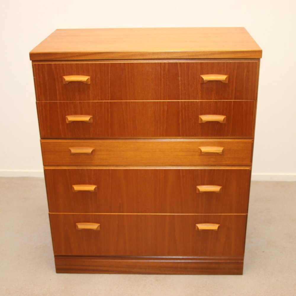 English Teak chest of drawers with 5 drawers by Mcintosh Scotland