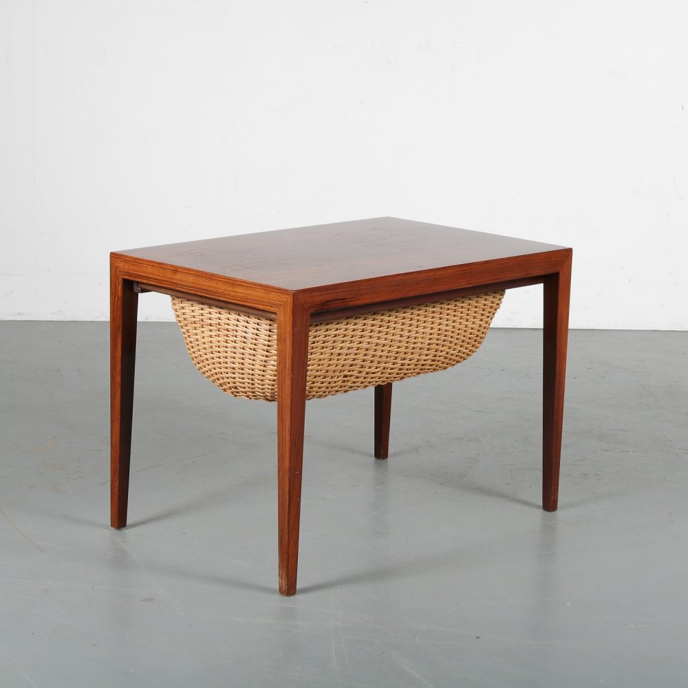 1950s Rosewood Danish sewing box by Severin Hansen for Haslev