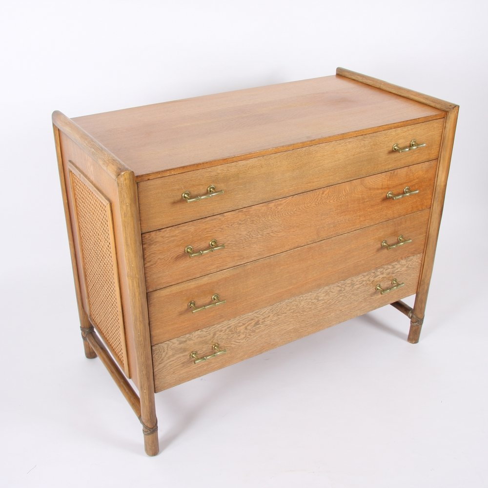 French Mid-Twentieth Century Oak & Faux Bamboo Commode