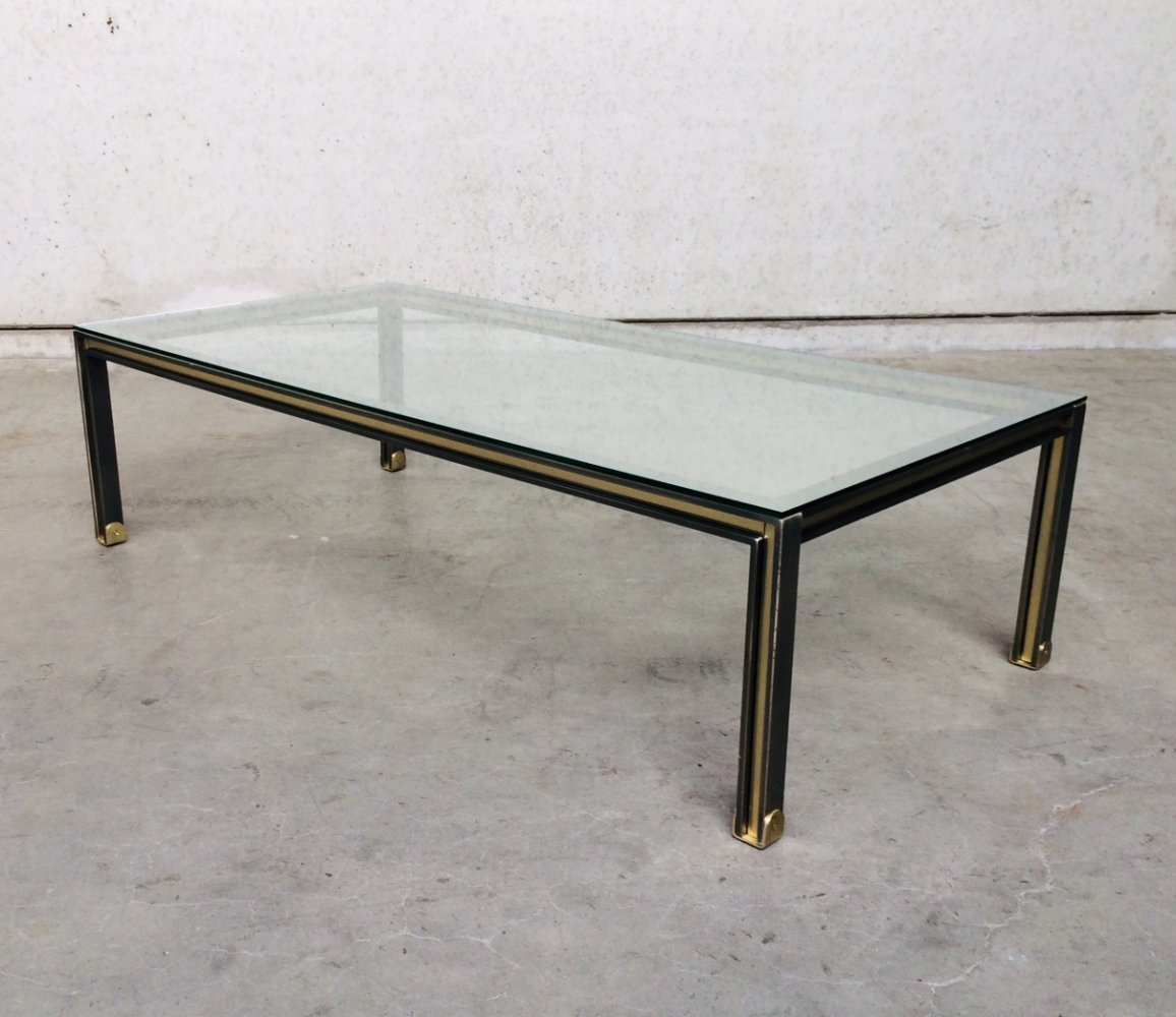 Post Modern Design brushed steel & brass XL Coffee Table, Belgium 1980