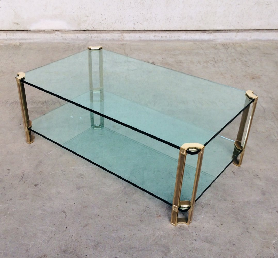 Large Glass & Brass Side Table by Peter Ghyczy, 1970