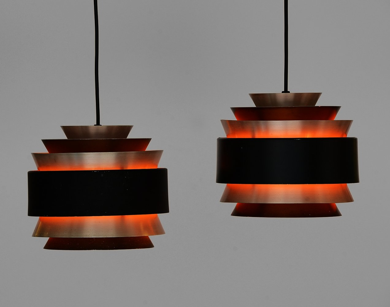 Pair of layered pendant lights in brushed aluminum, Denmark 1960s