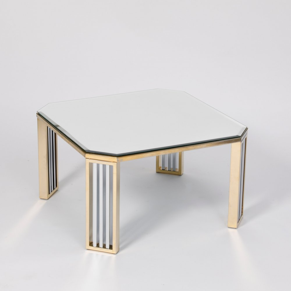 Mid-century brass & chrome coffee table by Maison Jansen