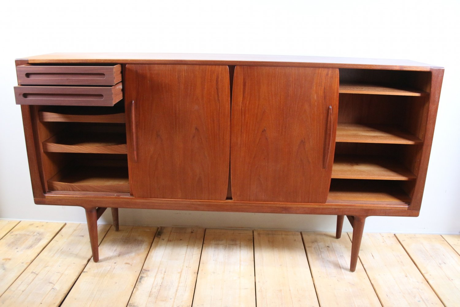 Danish High Board with sliding doors & drawers, 1960s