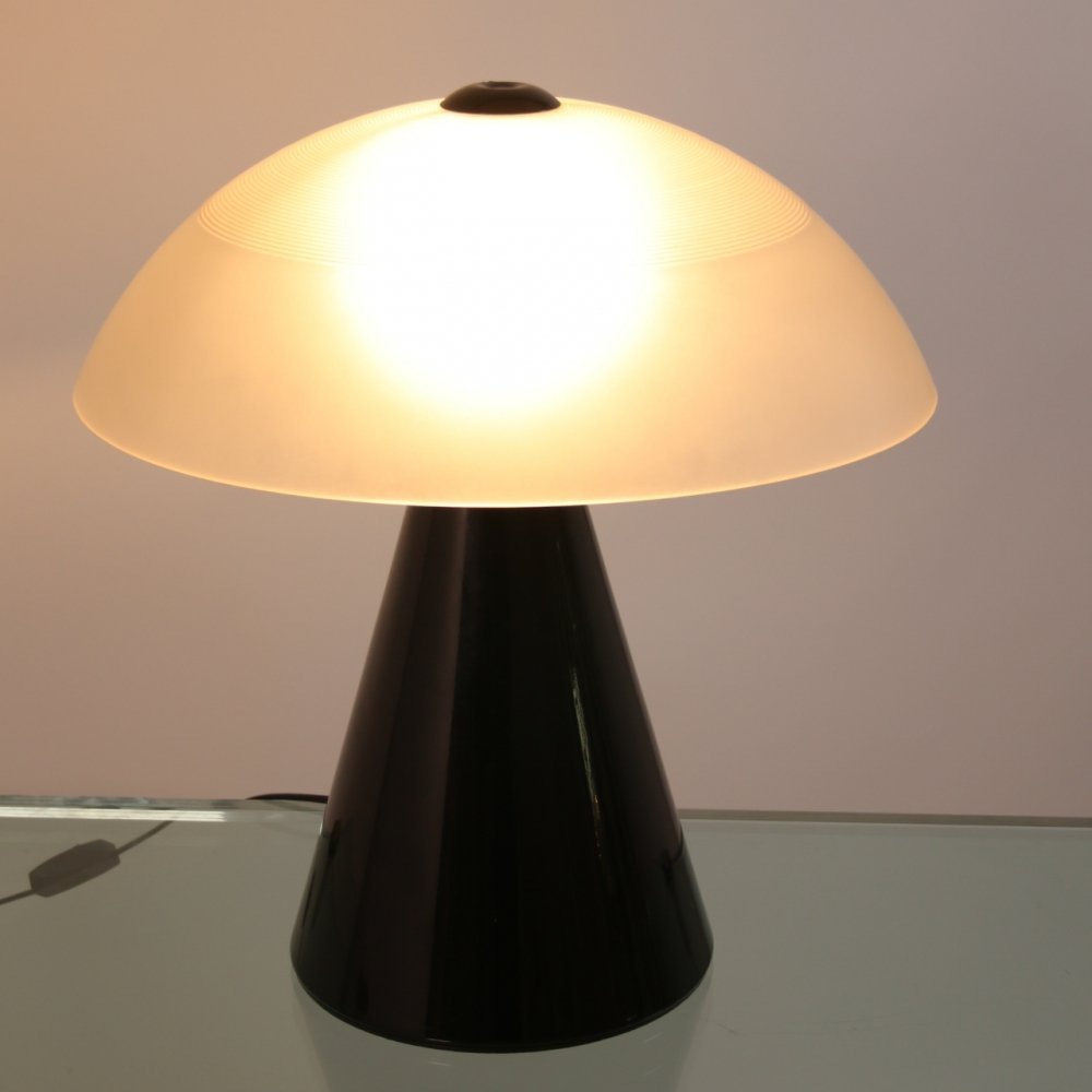 Murano Glass Black Table lamp by F. Fabbian, 1970s