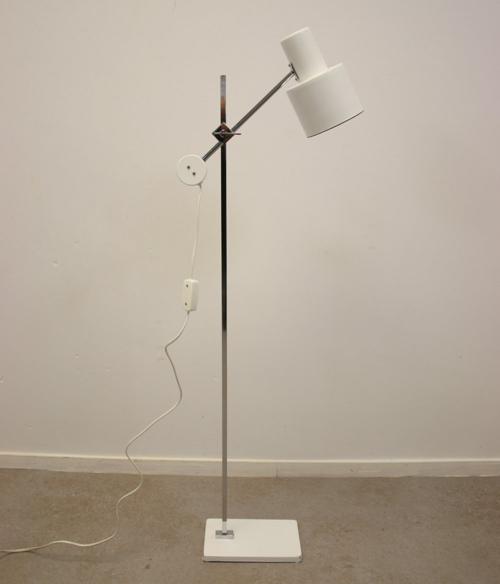 Scandinavian High white table / floor lamp with chrome & steel, 1960s