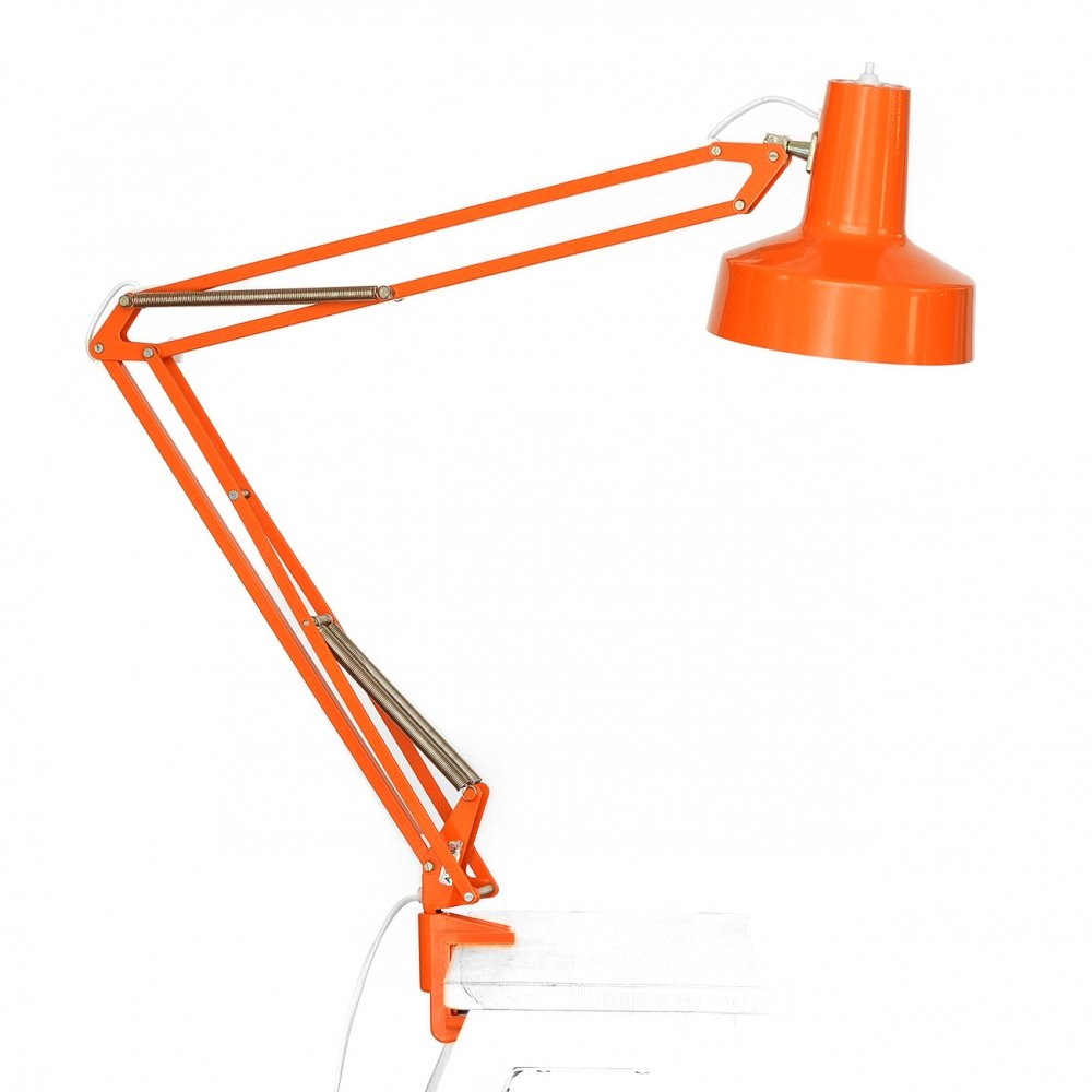 Orange architect desk light by Pileprodukter, Sweden 1970s