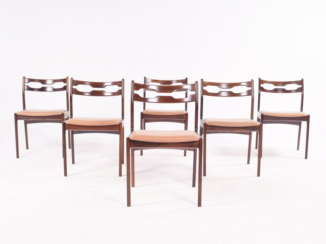 Set of Six Rare Rosewood Razorblade Dining Chairs by Erling Torvits, Denmark 1960s