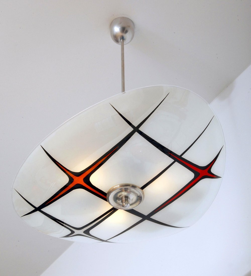 White & Red Glass Ceiling Lamp by Napako, Czechoslovakia, 1960s