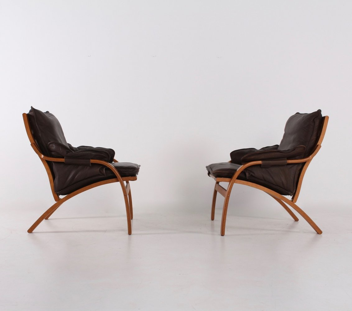 Reclining leather chairs by Mogens Hansen