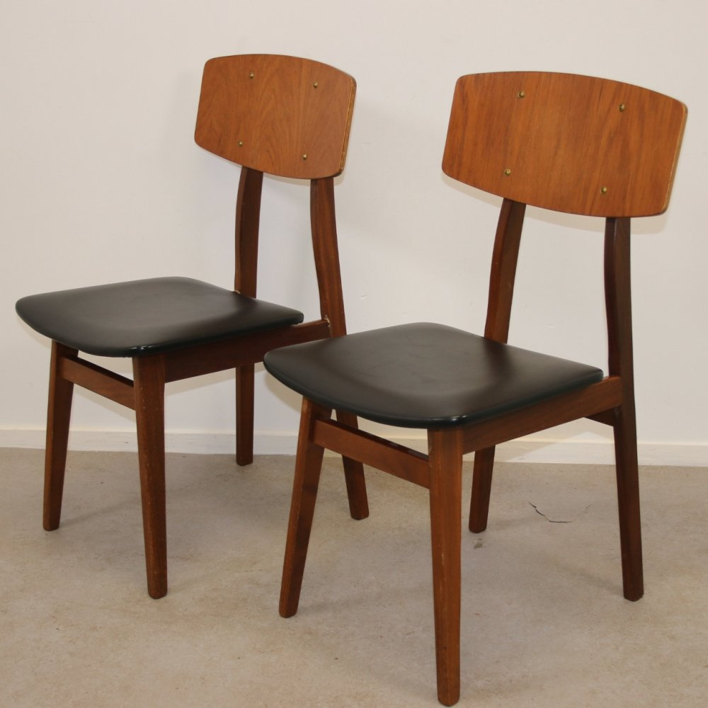 Pair of Danish design dining chairs in teak, 1960s