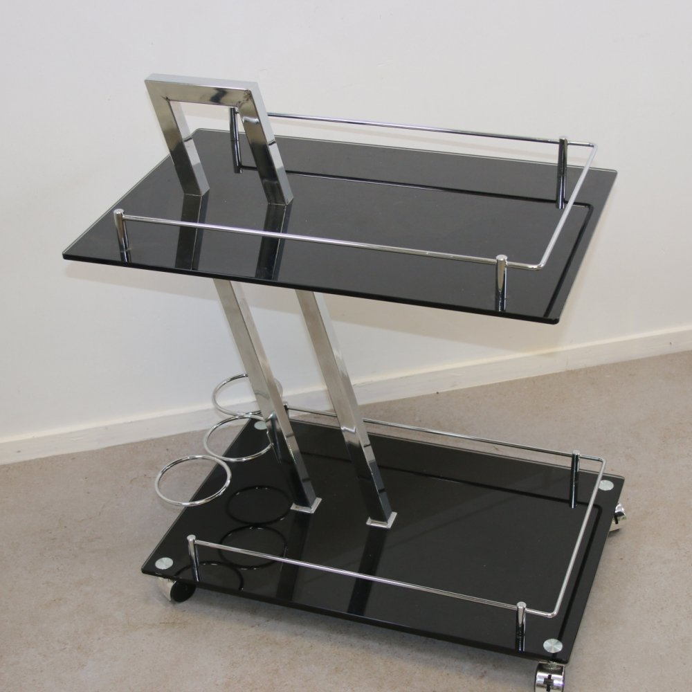Drinks Trolley in Chrome & black glass