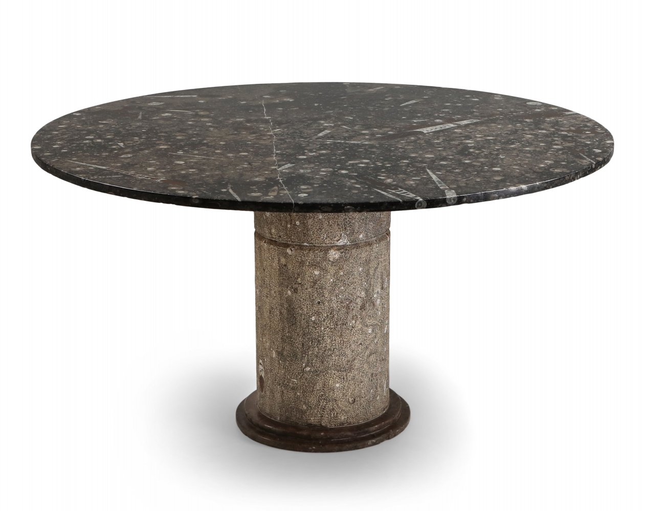 Fossil marble dining table, Marocco 1970s