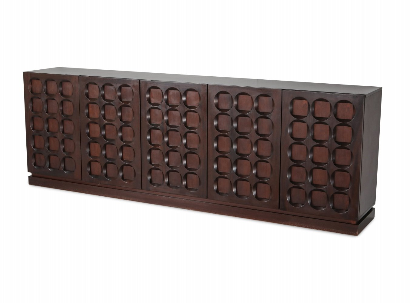 Mahogany credenza with geometrical patterned doors, 1970