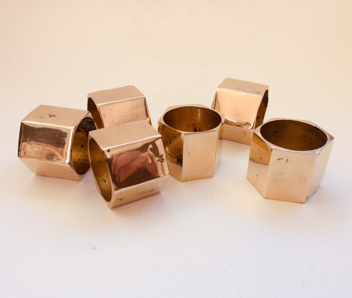Set of 6 Solid Brass Napkin Rings, 1970