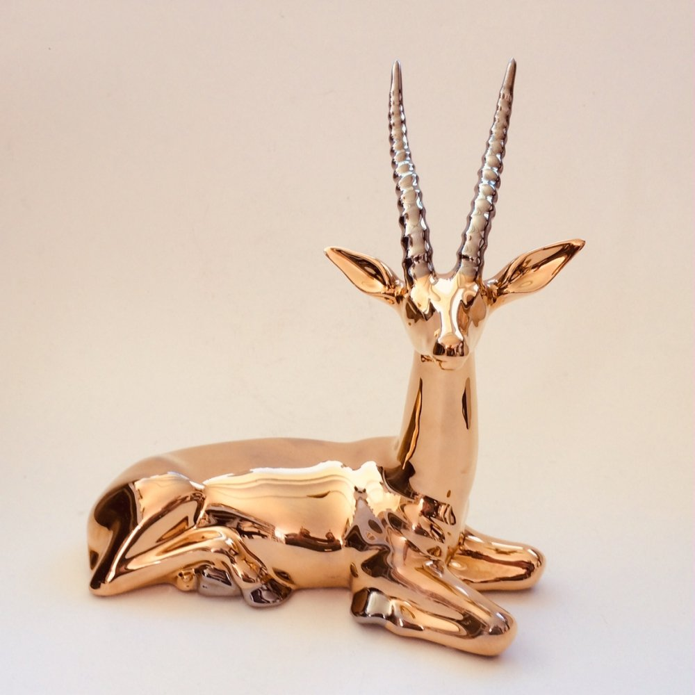 Gold plated figure statue of an African Gazelle, 1980s