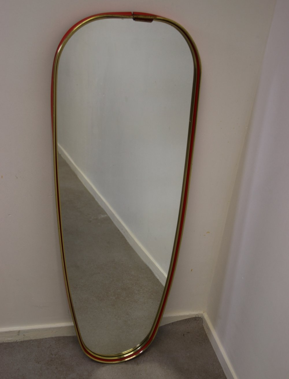 Vintage wall mirror with red border, 1960s
