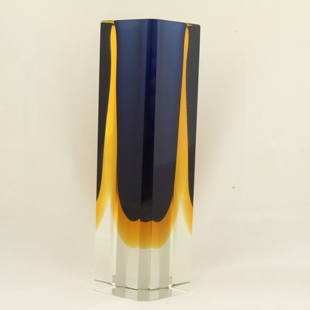 Murano square block vase in blue / yellow, 1960s