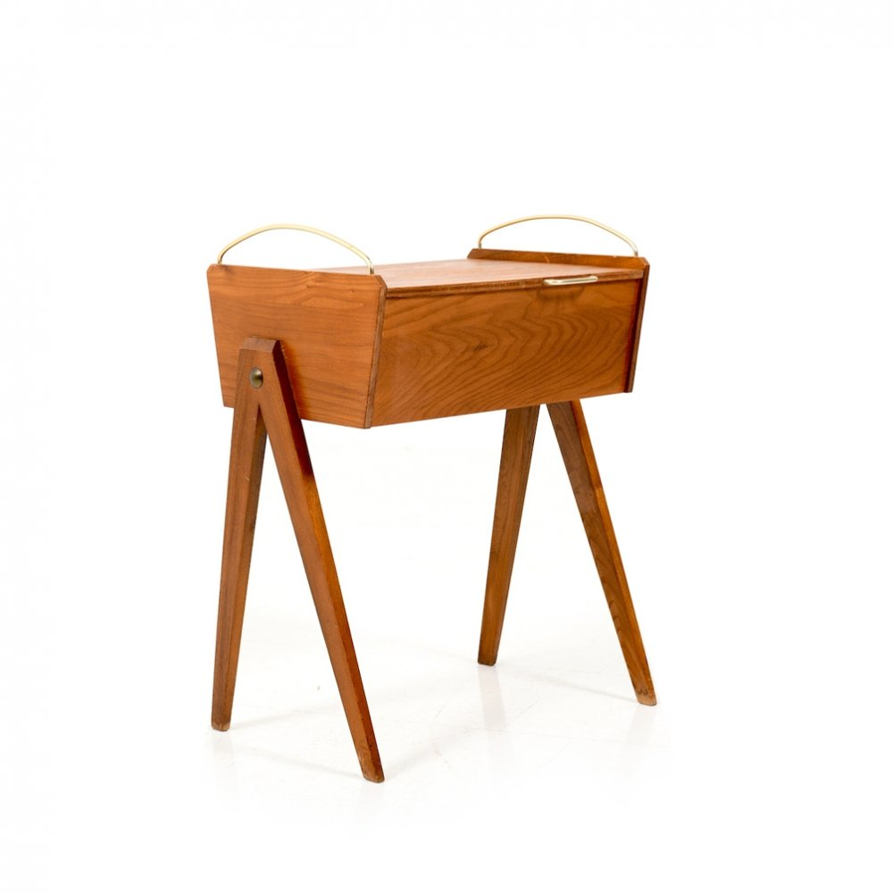 Early 1950s sewing table in elm wood