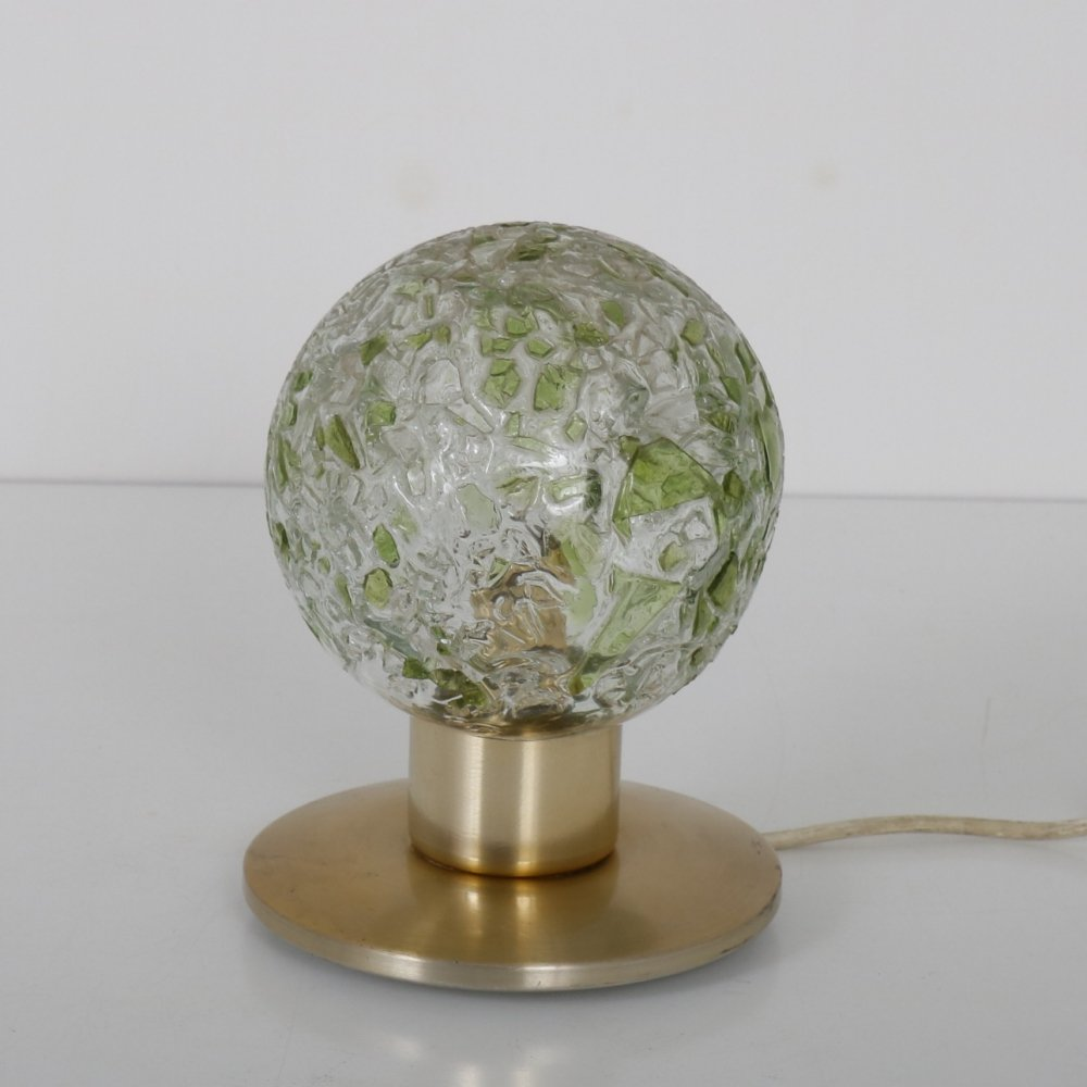 Round glass table lamp by Doria, Germany 1970s