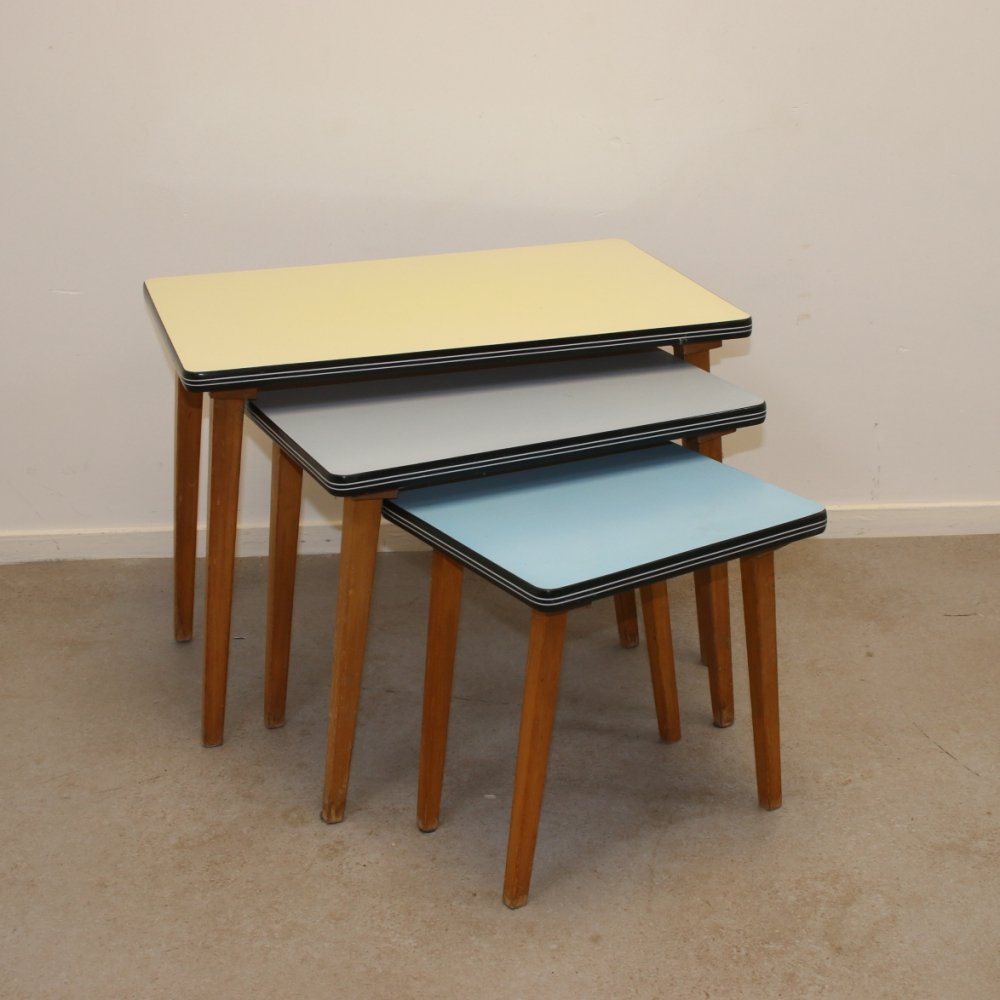 Vintage side tables in 3 colors, 1950s