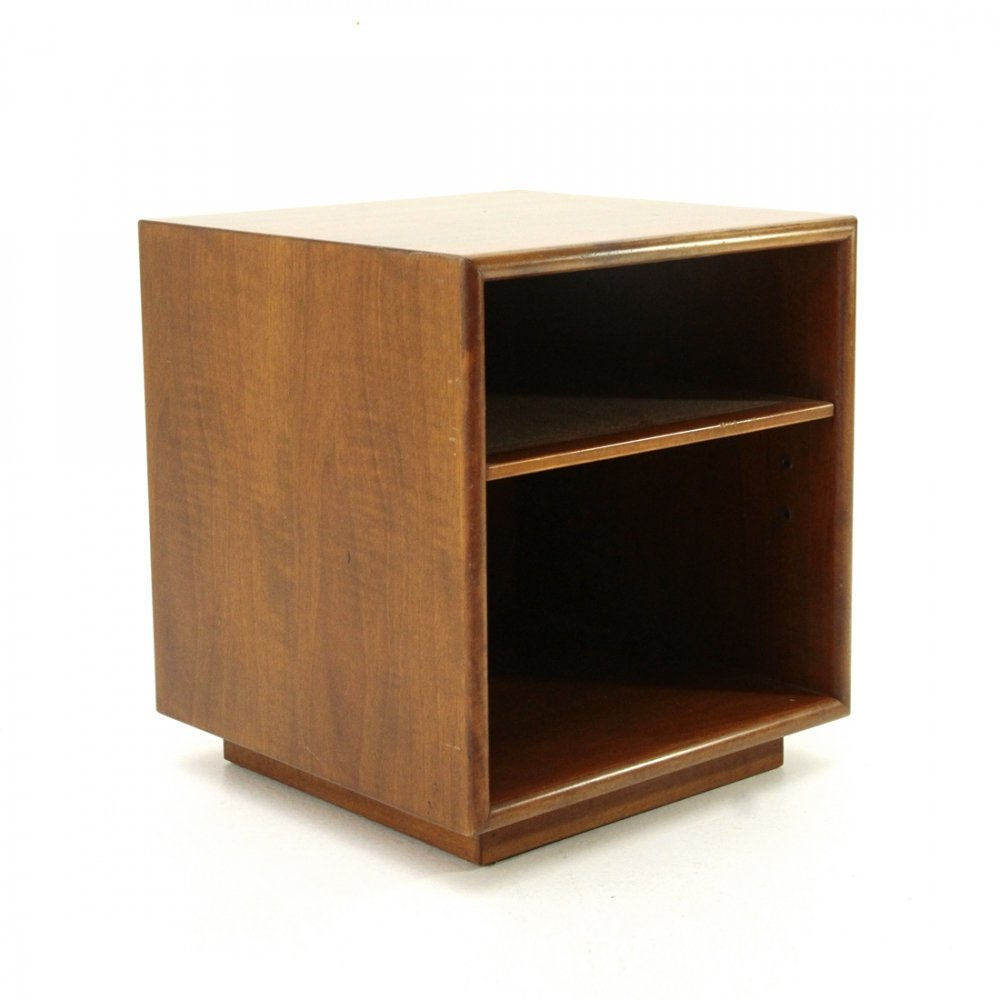 Cubic wood italian bed side table, 1960s