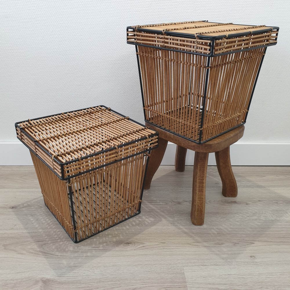 Pair of Mid-Century rattan square baskets by Rohé Noordwolde, 1960s