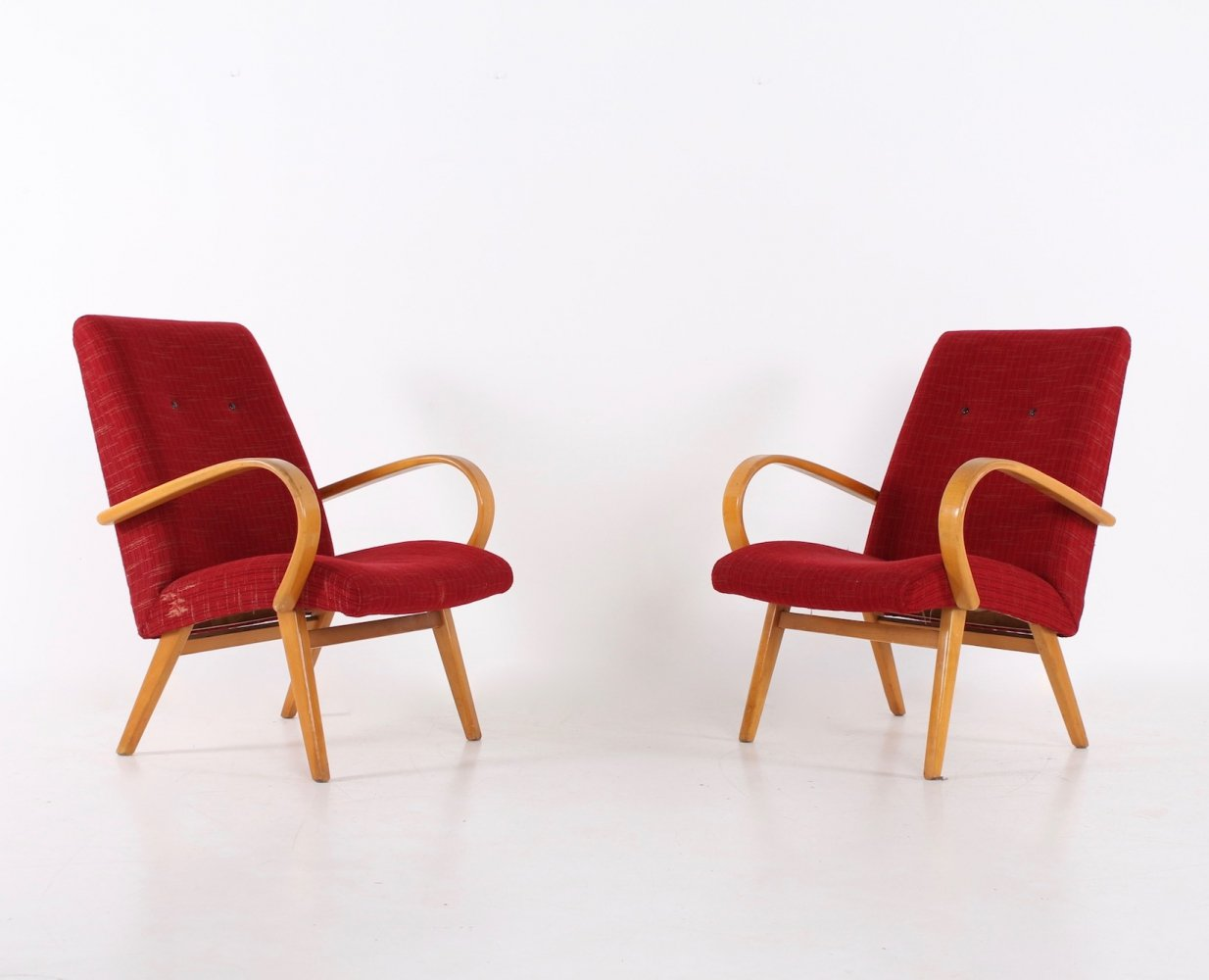 Pair of red armchairs, 1950