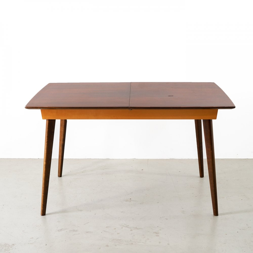 Vintage mid-century extendable table made of different types of wood, 1960s