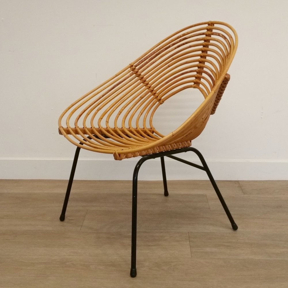 Rattan Lounge Chair by H. Broekhuizen for Rohé Noordwolde, 1960s