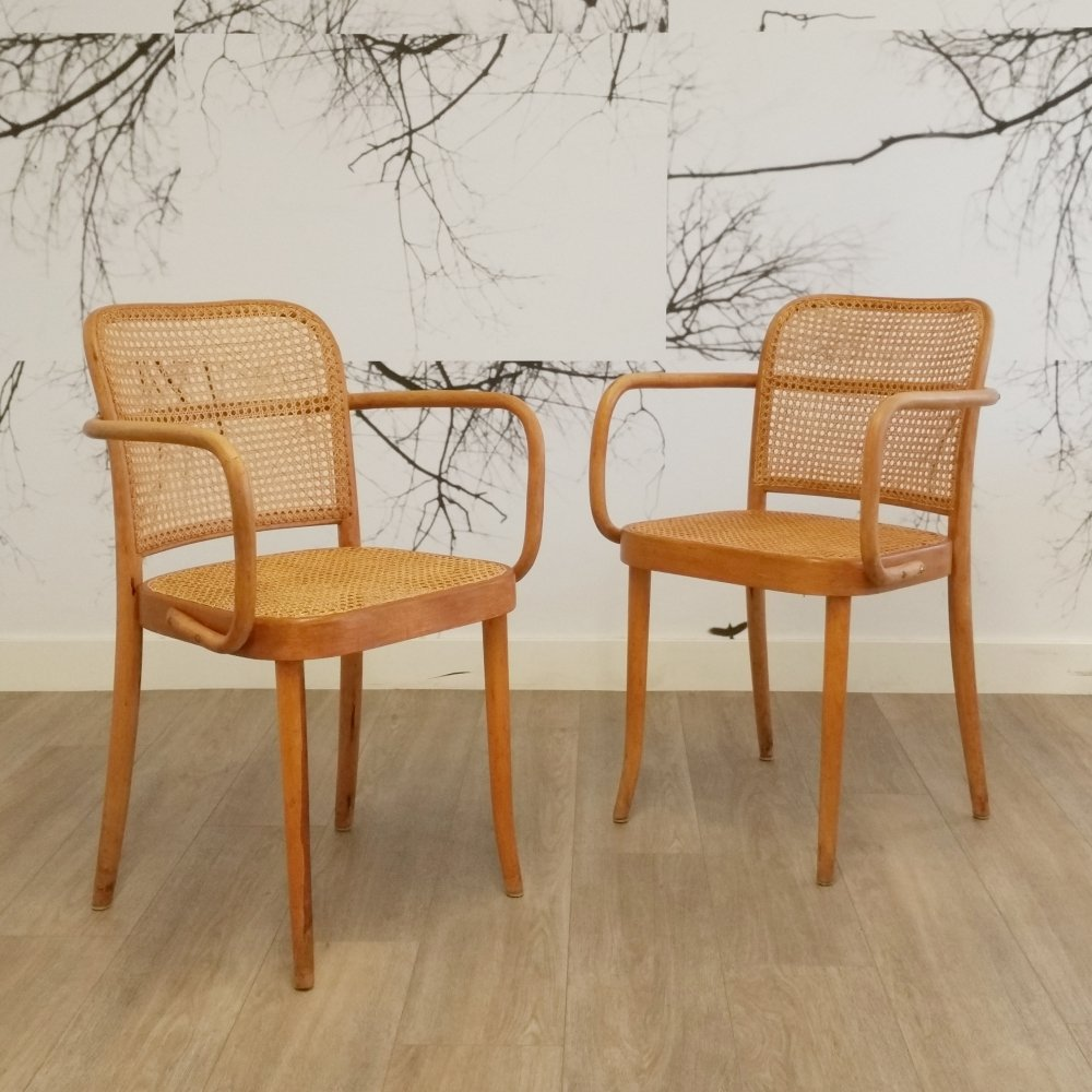 Set of 2 Prague / 811 Chairs by Josef Hoffmann for Thonet, 1950s
