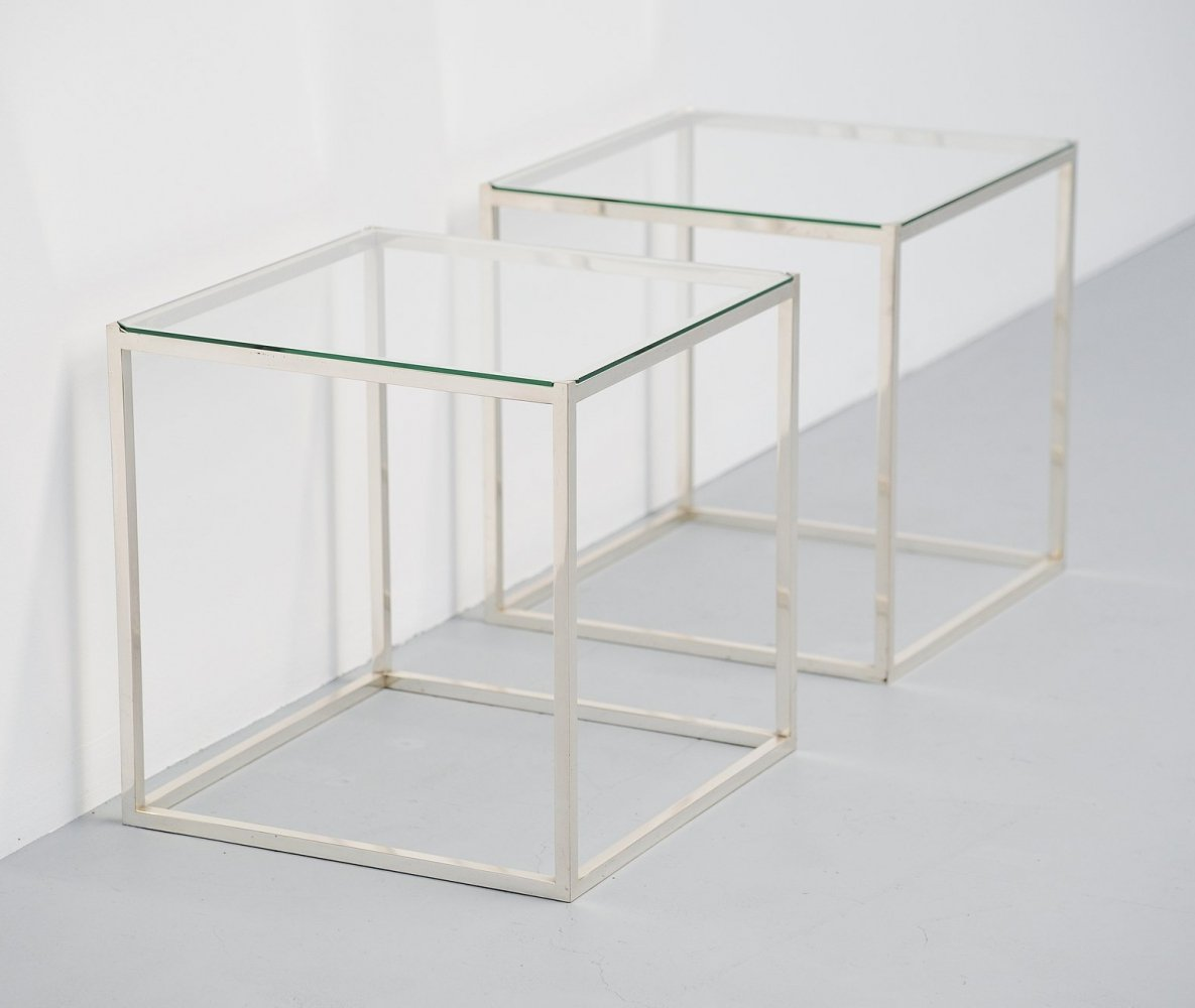 Lino Sabattini silver plated side tables, Italy 1970