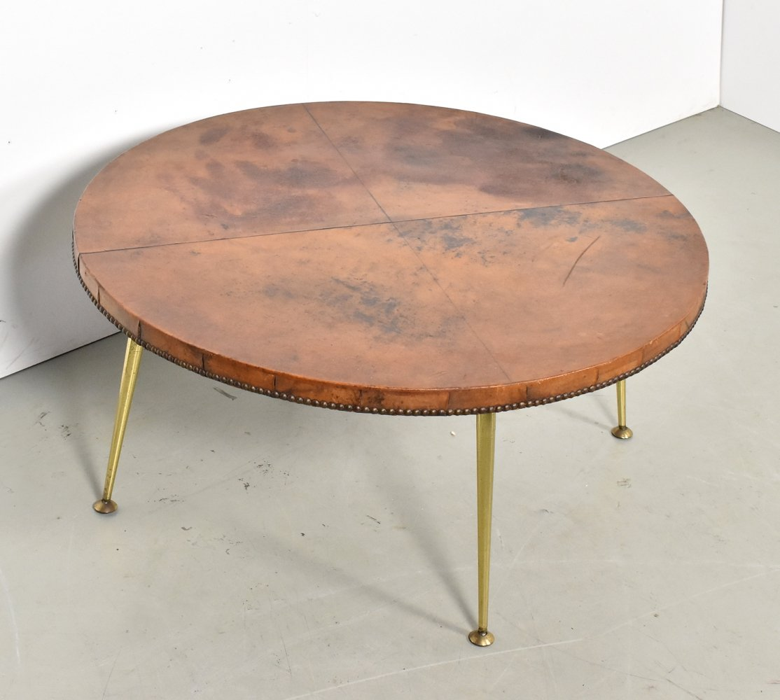 Goatskin leather coffee table with brass legs, 1950s