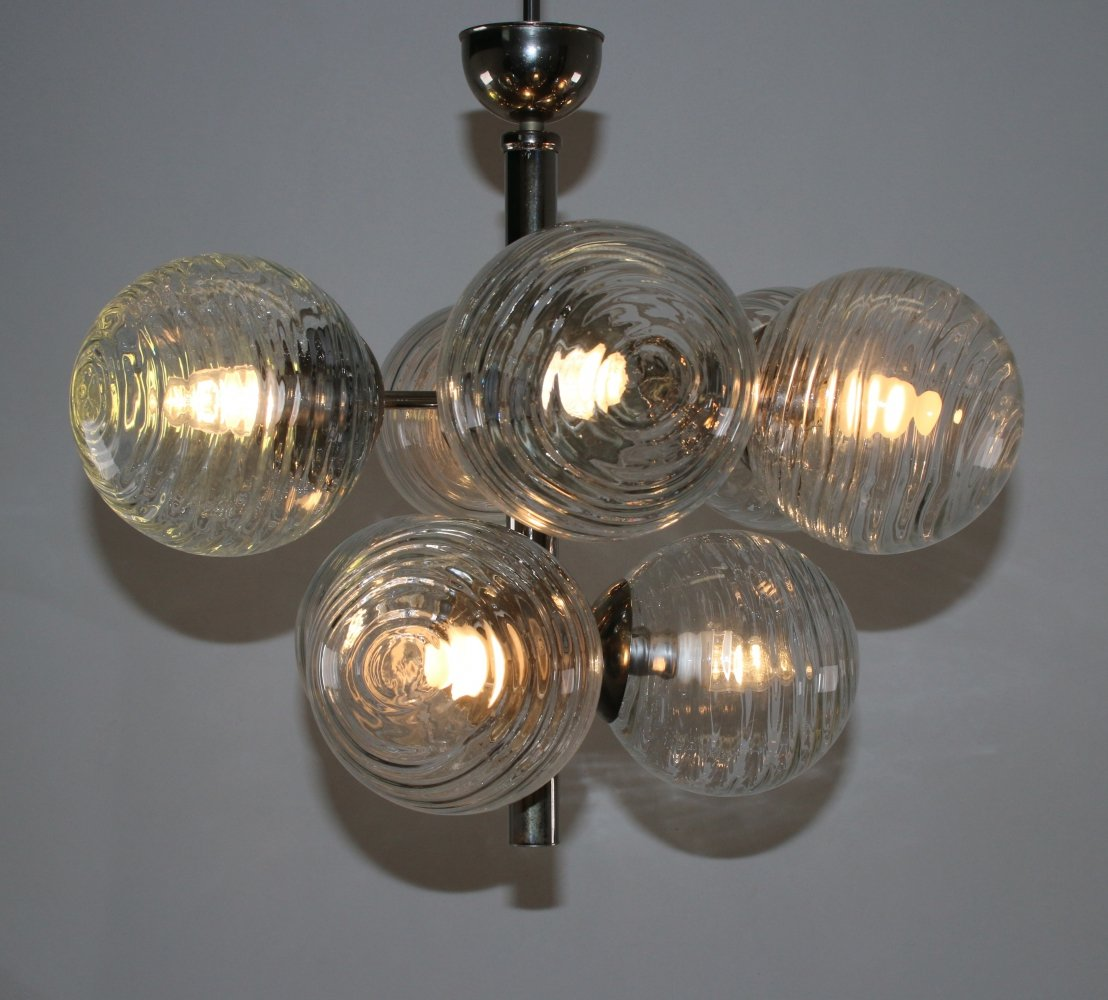 Chrome hanging lamp with globes, 1950s