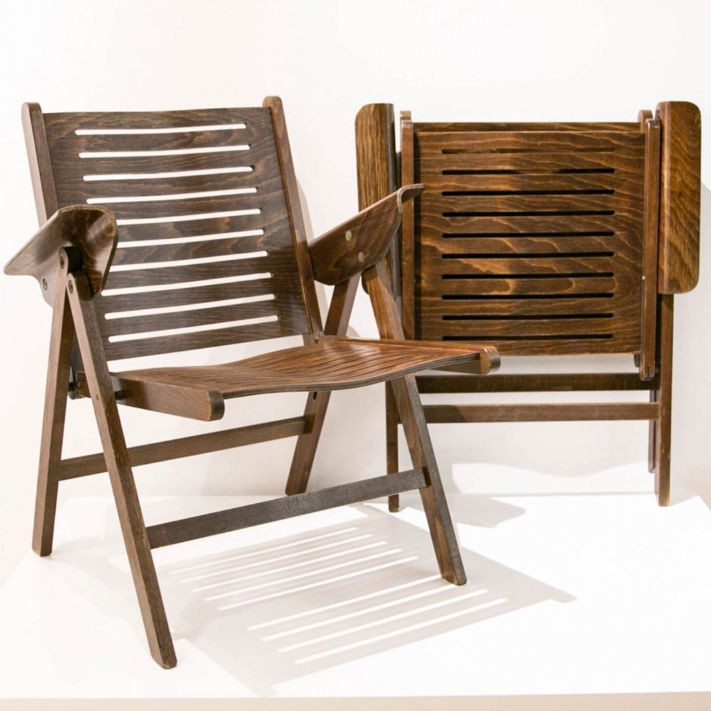 Pair of Foldable chairs in beech plywood, 1980s